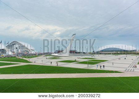 Russia, Sochi - June 10.2017: Olympic Park Post-olympic Legacy In The Coastal Cluster Imereti Lowlan