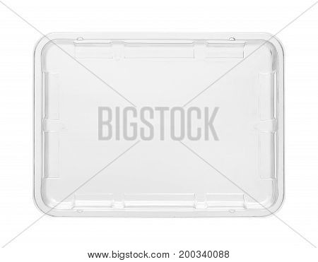 Plastic food tray top view (with clipping path) isolated on white background