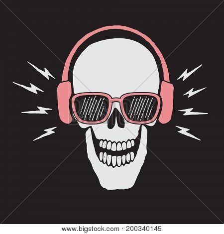 skull listen a music in headphones.Vector prints design for t-shirts or other apparel
