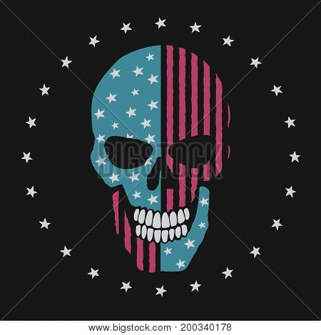 skull like the american flag. Prints design for t-shirts or other apparel