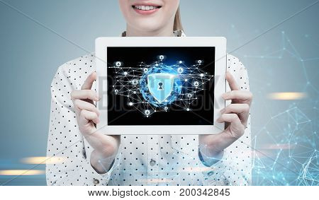 Businesswoman With A Tablet, Digital Security
