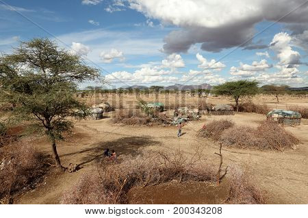 Cottages and villages of the Samburu in Africa