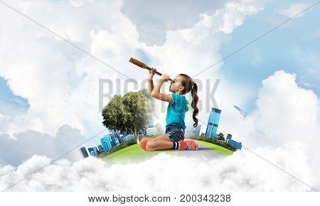 Cute kid girl on city floating island looking in spyglass