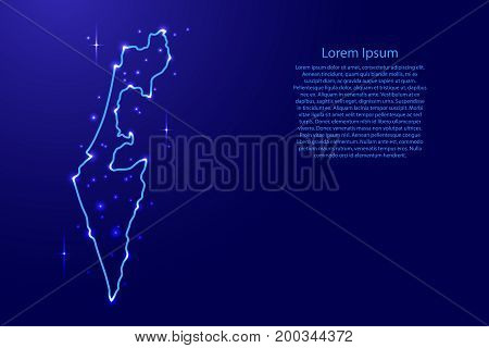 Map Israel from the contours network blue luminous space stars of vector illustration