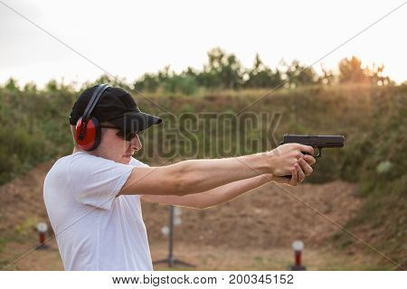 Young Blond Handsome Secret Service Agent Soldier Training Military Camp Firing Gun Glock Desert Eag