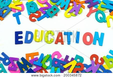 The Letters Made Of Plywood The Words Education Are On A White Background.