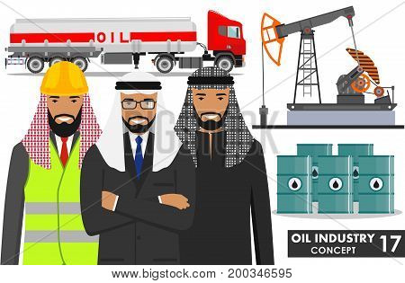 Detailed illustration of gasoline truck, oil pump, barrels and group arab muslim business people in flat style on white background.