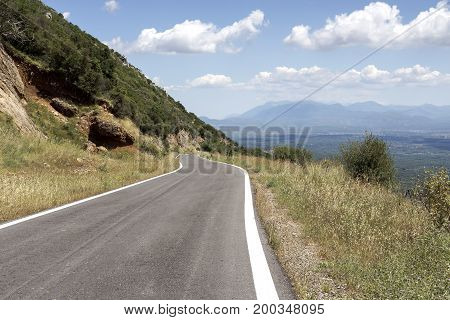 The road in the mountains in the countryside (Greece, Peloponnese)