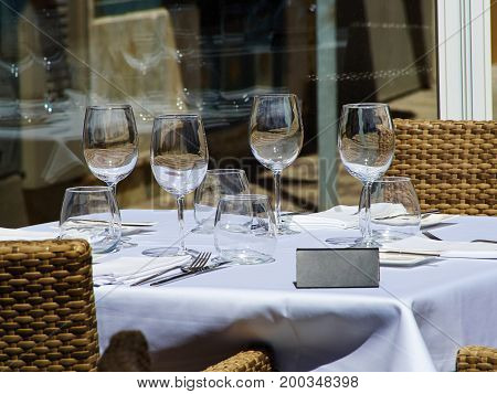 Beautiful festive creative colorful table setting in a restaurant hotel