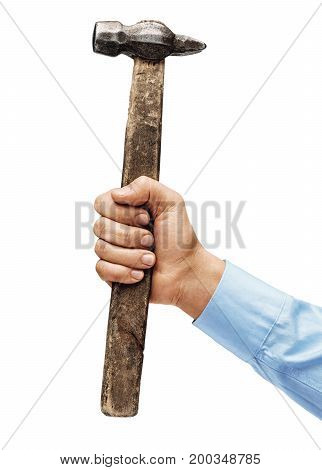 Man's hand in a shirt holds a hammer isolated on white background. Close up. High resolution product