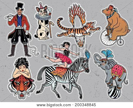 Set of vintage circus characters in flash tattoo style patches or elements. Set of decorative stickers, pins, in 90 s comic style. Pop art items collection. Fashionable vector collection, vintage kit.