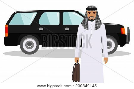 Detailed illustration of automobile and saudi arabic businessman on white background in flat style.