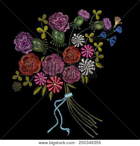 Embroidery bouquet of summer flowers. Fashion template for clothes textiles t-shirt design. Roses chamomiles classical embroidery bouquet of beautiful flowers on black background