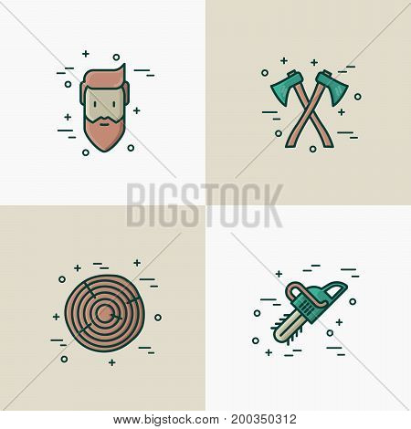 Logging and lumberjack with beard concept and related thin line icons: two axes, chainsaw, forestry equipment, timber, lumber. Vector illustration.