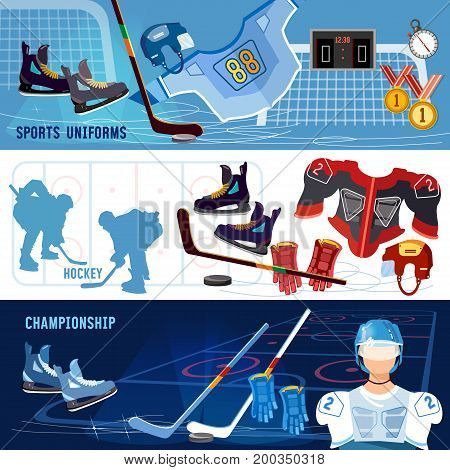 Hockey banner. Hockey team sport uniform. World ice hockey championship hockey players shoots the puck and attacks signs and symbols elements of professional hockey