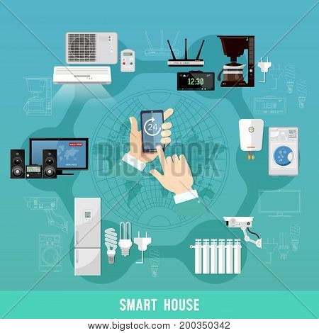 Smart home. Remote home control system on digital tablet or phone. Smart house infographic. Modern technologies for household smart appliances presentation template