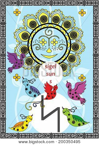 An illustration on a theme of divination with cards with runes.