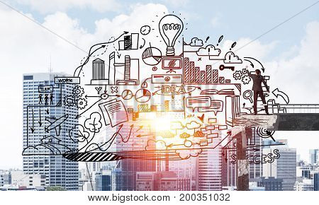 Businessman in suit drawing business plan strategy while standing on broken bridge with cityscape and sunlight on background. 3D rendering.