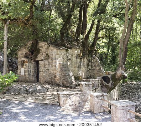 Church of Saint Theodora is a miracle, on the roof grow trees and have no roots. Church is listed in the Guinness Book of Records (district Arcadia, Peloponnese, Greece).