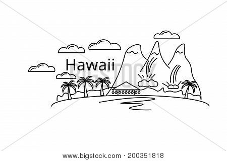 Card of Hawaii. Vector in color. Postcard for the flyer or mocap. Complimentary ticket.