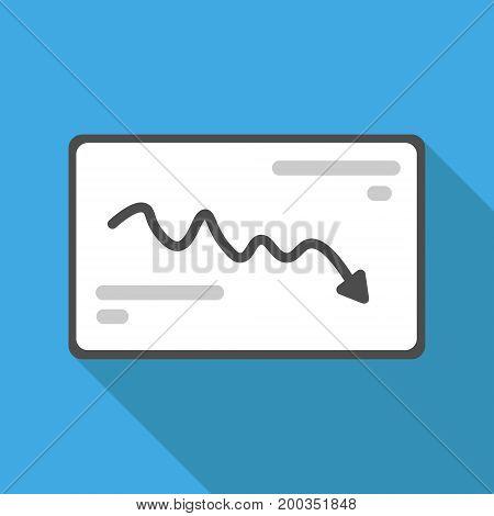 Vector illustration. Flat design. Declining a graph.
