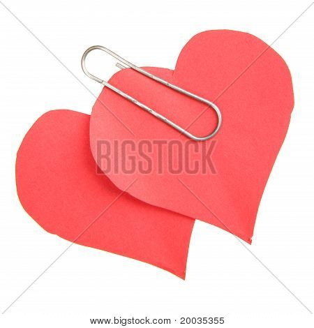 Two Paper Red Hearts