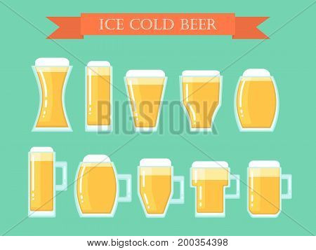 A set of diverse glasses with beer to the day of the beer festival, oktoberfest. Draft beer, street alcoholic beverages. Flat design, vector illustration Isolated on a monophonic background.