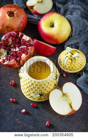 The Concept Of Rosh Hashanah (jewish New Year). Traditional Holiday Symbols - Shofar, Honey, Apple A