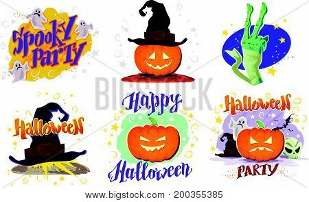 Vector collection of flat cartoon Halloween design samples isolated on white background. Decoration elements good for invitation, flyer, party poster, banner, card template. Pumpkin, hat, skull, ghost