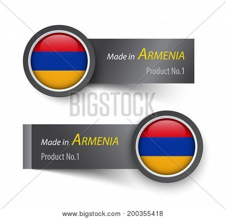 Flag Icon And Label With Text Made In Armenia