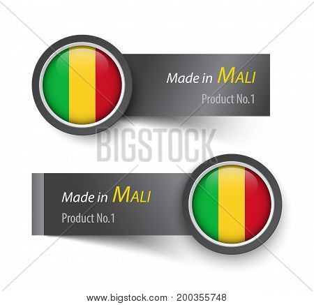 Flag Icon And Label With Text Made In Mali