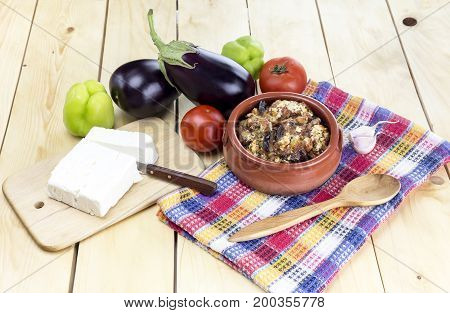 Greek cuisine. Eggplant in tomato sauce with