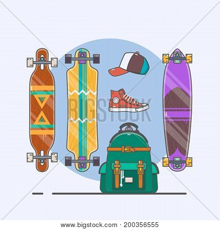 Set of longboards and skateboards of various shapes. Line drawing. Flat vector illustration.