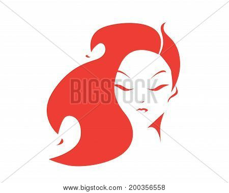 Flaming Red Female Figure With Elegant Strong Hair