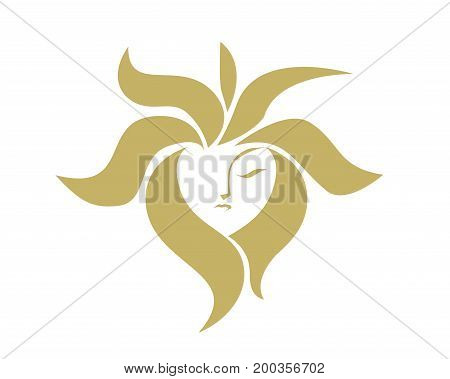 Abstract Female Face Forming A Gold Sun Figure Logo