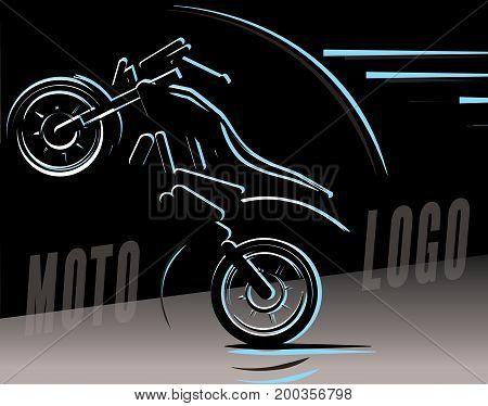 Motorcycle logo illustration, motocross freestyle, moto silhouette