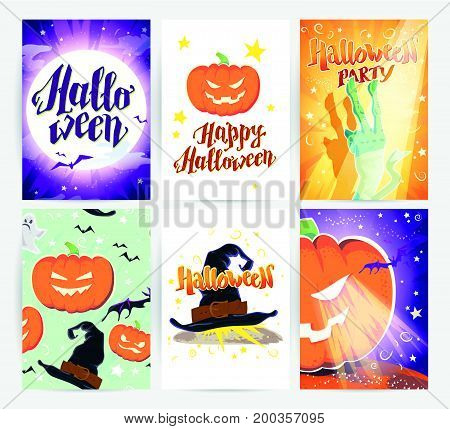 Vector collection of cartoon Halloween spooky cards and party invitations and flyers with lettering, patterns, decoration elements. Poster, placard designs.
