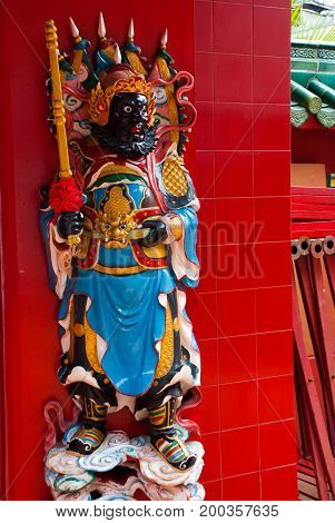 Tua Pek Kong Chinese Temple In Chinatown. Statue. Kuching, Sarawak. Malaysia. Borneo