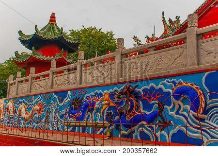 The Image Of A Dragon. Tua Pek Kong Chinese Temple In Chinatown. Kuching, Sarawak. Malaysia. Borneo