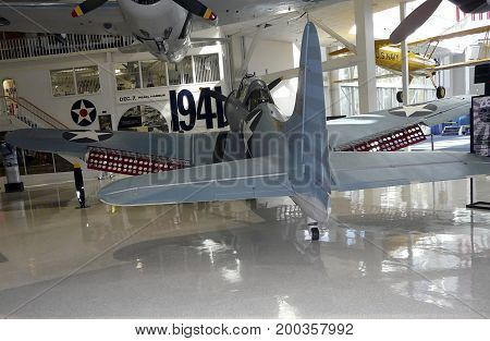 PENSACOLA, FLORIDA-OCTOBER 19, 2016: The SDB Dauntless, a Douglas Scout / Dive Bomber that survived Pearl Harbor and the Midway Battle, is at the National Naval Aviation Museum in Pensacola, Florida.