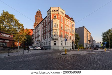 Beautiful town architecture in central part of Gliwice Poland Europe. during sunset.