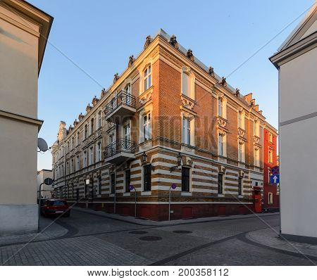 Town architecture in central part of Gliwice Poland Europe. during sunset.
