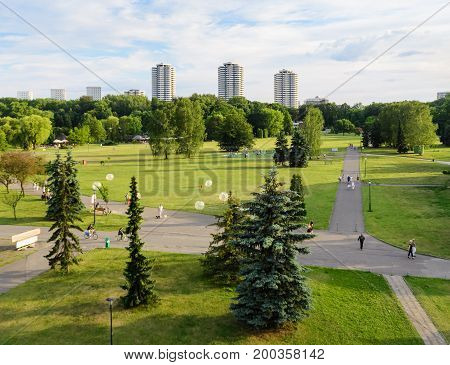 Katowice park aerial view. Poland. Europe. Summer time
