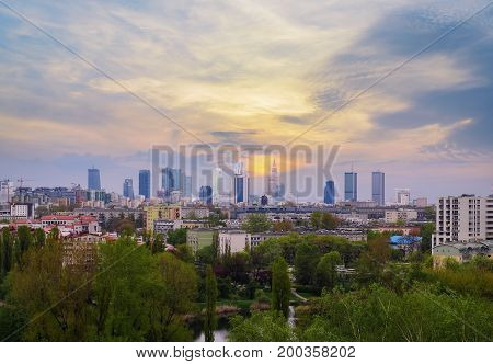 Warsaw cityscape, evening photo in Poland. Europe.