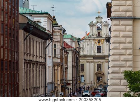 Architecture of Krakow central part. Poland. Europe.