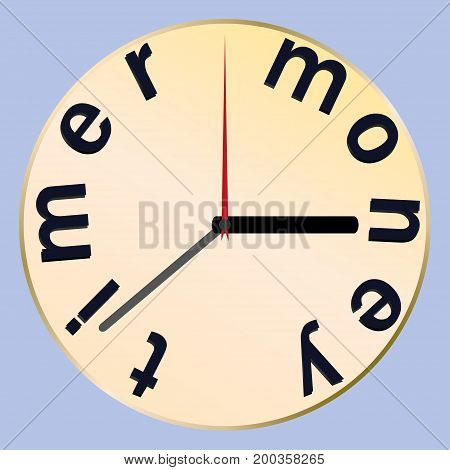 clock time . the money time . vector illustration