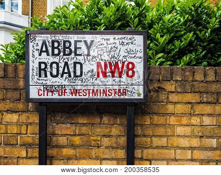 Abbey Road Sign In London (hdr)