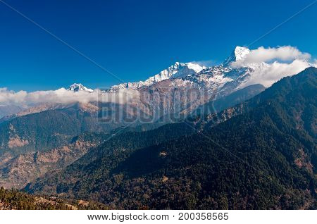 View Of Fish Tail Mountain Or Also Know As Machapuchare In The Annapurna Himalayas Of North Central