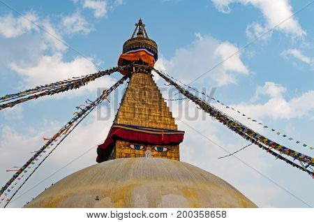 View Of Boudhanath Temple And Prayer Flag. Boudhanath Is A Stupa In Kathmandu, Nepal. It Is Known As