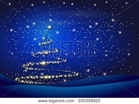 Christmas tree on Christmas night, vector art illustration.